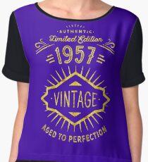 Gold and Purple 60th Birthday Born 1957 Women's Chiffon Top
