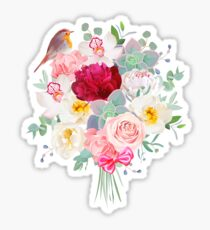 Bouquet arranged from white and burgundy red peony, peachy rose, echeveria, orchid, carnation, eucalyptus and robin bird vector design set. Modern mixed style. All elements are isolated and editable Sticker