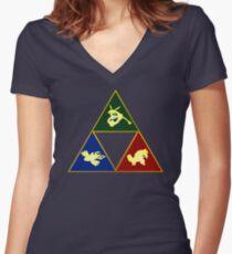 Hoenn's Legendary Triforce Women's Fitted V-Neck T-Shirt