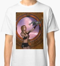 Wonderful steampunk lady with steam dragon Classic T-Shirt