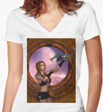 Wonderful steampunk lady with steam dragon Women's Fitted V-Neck T-Shirt