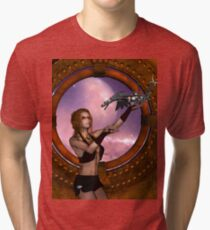 Wonderful steampunk lady with steam dragon Tri-blend T-Shirt