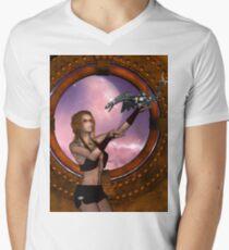 Wonderful steampunk lady with steam dragon Men's V-Neck T-Shirt