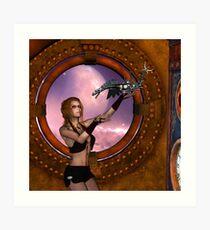 Wonderful steampunk lady with steam dragon Art Print