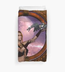Wonderful steampunk lady with steam dragon Duvet Cover