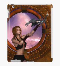 Wonderful steampunk lady with steam dragon iPad Case/Skin