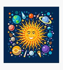 Solar System smiling sun universe Photographic Print