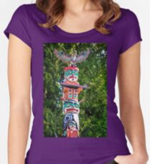 Totem Pole detail at Stanley Park, Vancouver Women's Fitted Scoop T-Shirt