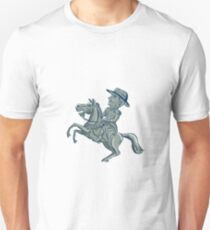American Cavalry Officer Riding Horse Prancing Cartoon T-Shirt