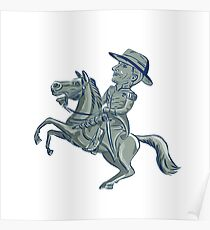 American Cavalry Officer Riding Horse Prancing Cartoon Poster