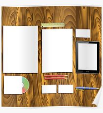 Colorful Illustration with  Wood Office Desk  for your Design. Poster