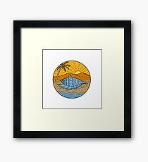 Conch Shell on Beach Mountain Sun Coconut Tree Mono LIne Framed Print