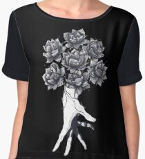 Hand with lotuses on black Women's Chiffon Top