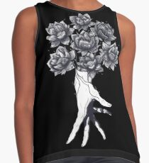 Hand with lotuses on black Contrast Tank