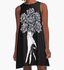 Hand with lotuses on black A-Line Dress