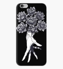 Hand with lotuses on black iPhone Case