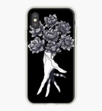 Hand with lotuses on black iPhone-Hülle & Cover