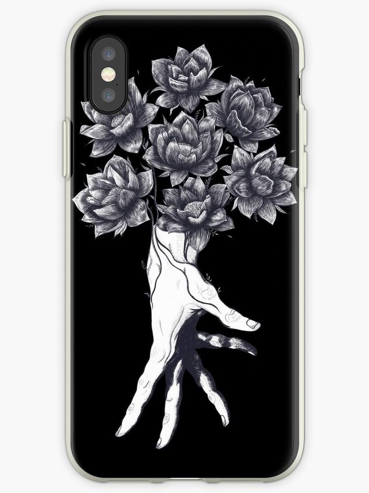 Hand with lotuses on black by Valeriya Korenkova Kodamorkovkart