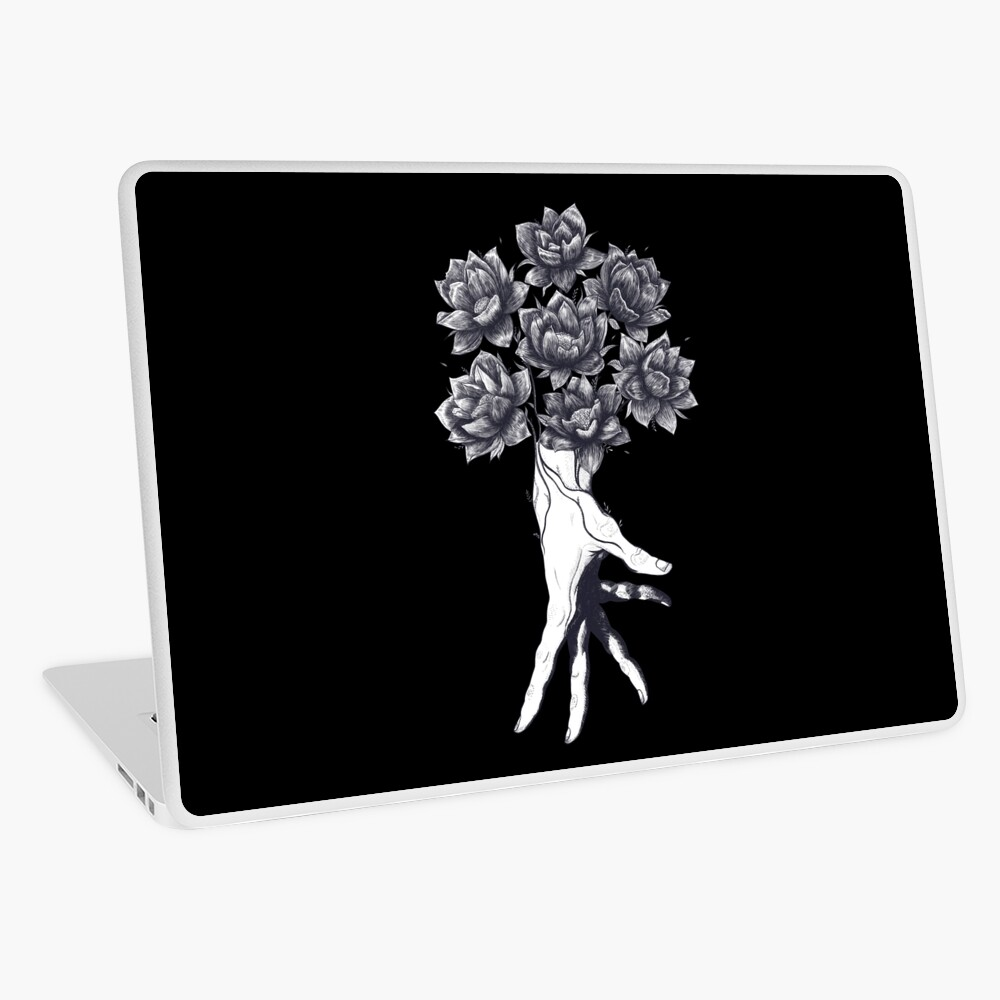 Hand with lotuses on black Laptop Skin