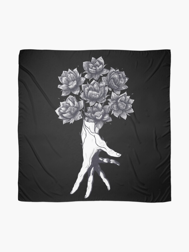 Alternate view of Hand with lotuses on black Scarf
