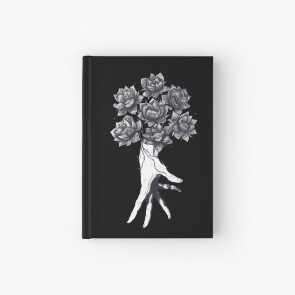 Hand with lotuses on black Hardcover Journal