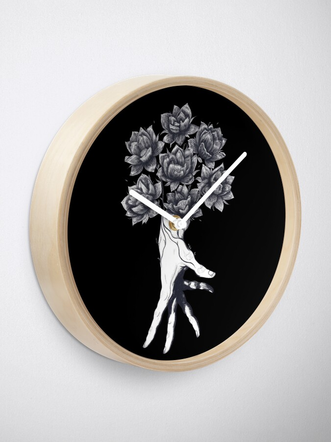 Alternate view of Hand with lotuses on black Clock