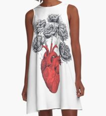 Heart with peonies A-Linien Kleid