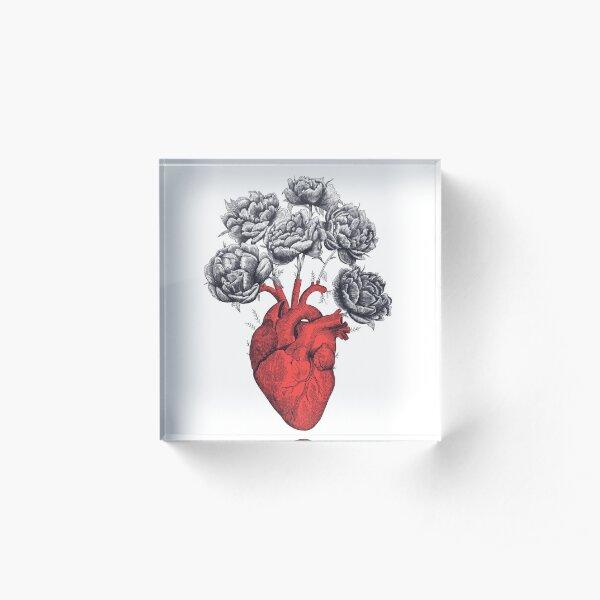Heart with peonies Acrylic Block