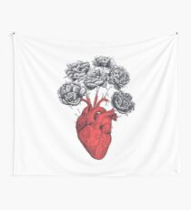 Heart with peonies Wall Tapestry