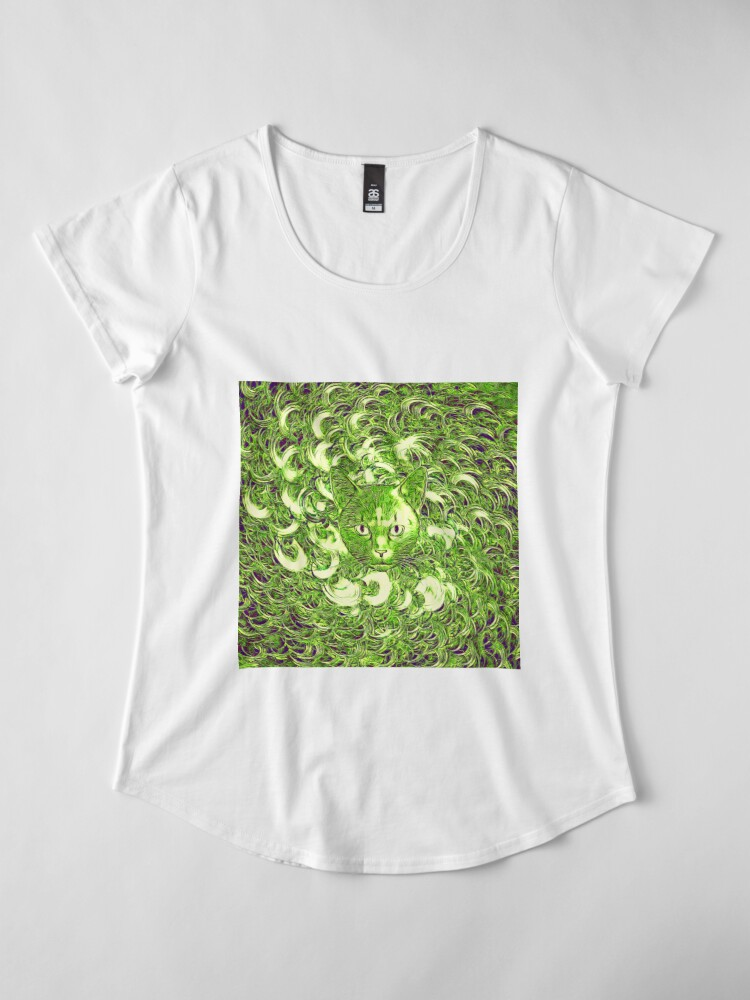 Alternate view of Hiding in fractal feathers Premium Scoop T-Shirt