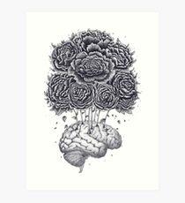 Brain with peonies Art Print
