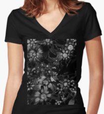 Black Floral Women's Fitted V-Neck T-Shirt