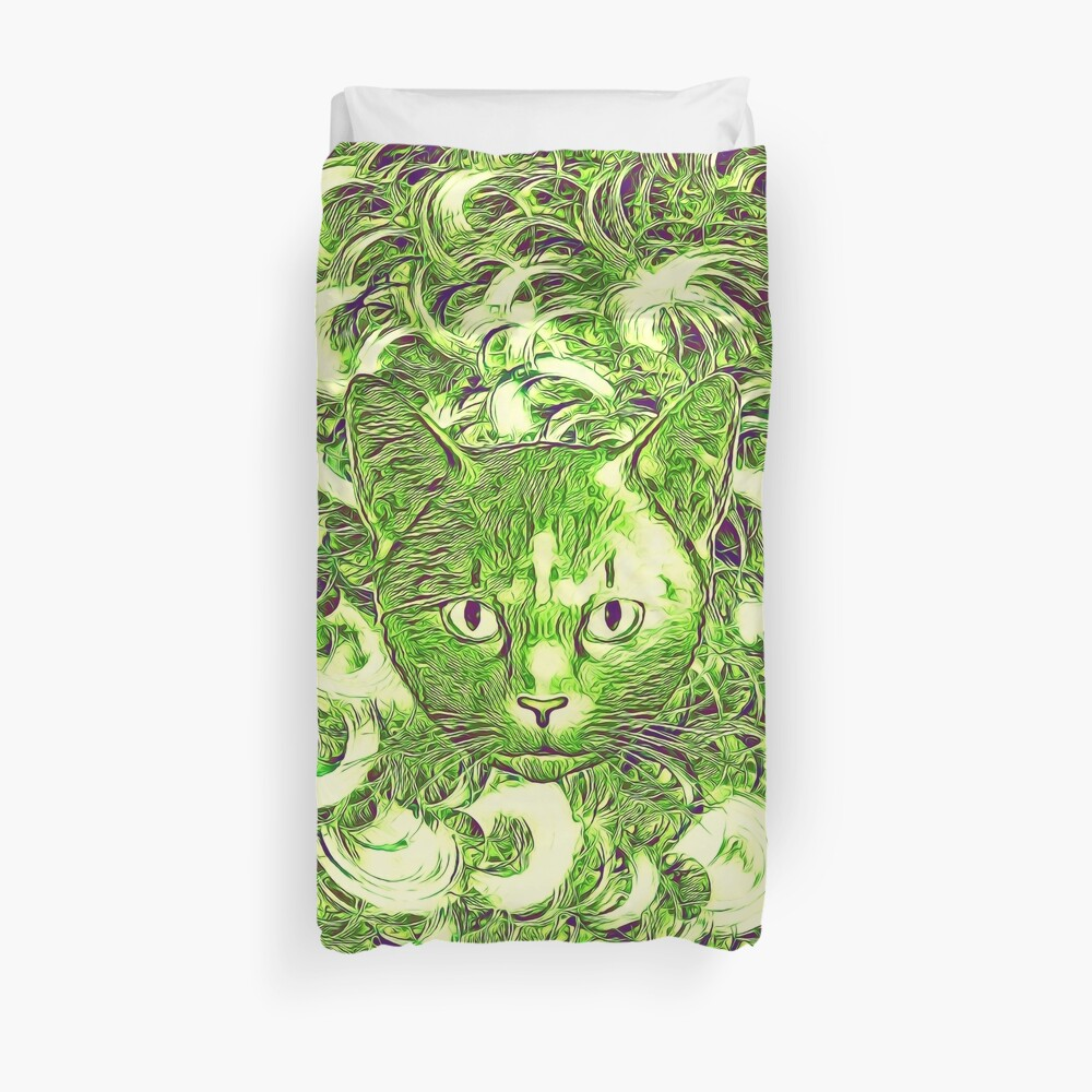Hiding in fractal feathers Duvet Cover