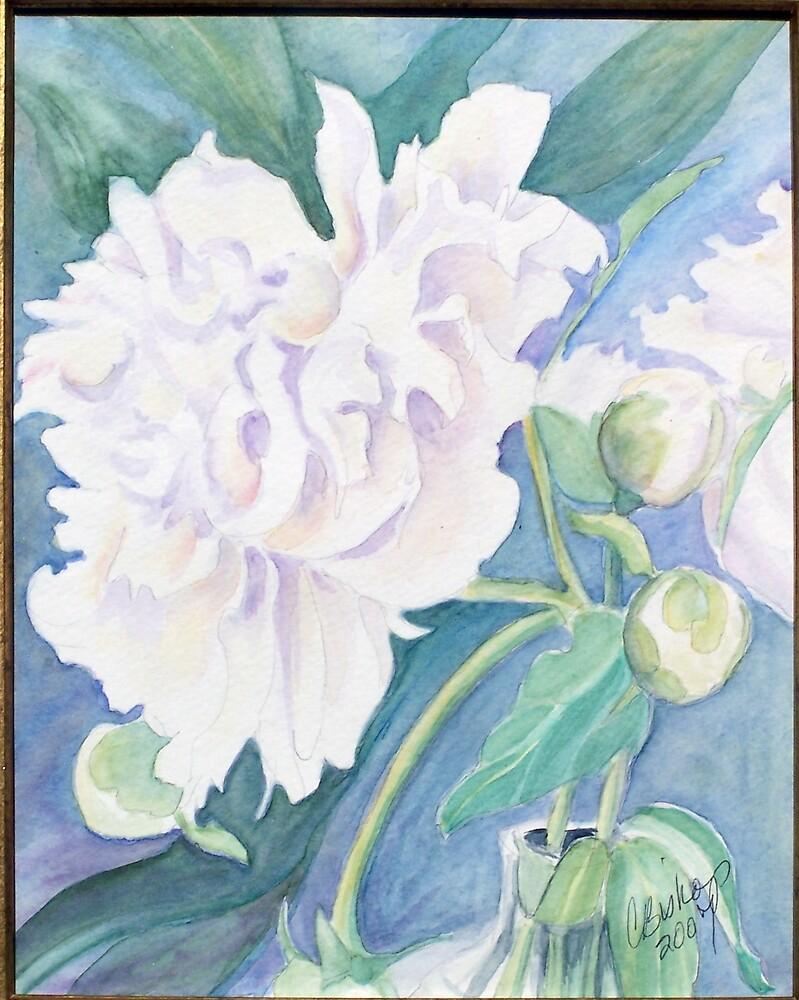 White Peonies by Carolyn Bishop
