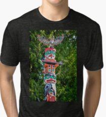 Detail of Totem Poles in Stanley Park, Vancouver Tri-blend T-Shirt