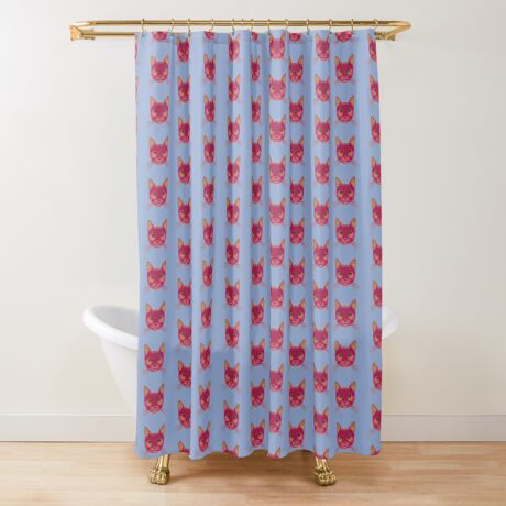 Rose Hungry Cat Shower Curtain