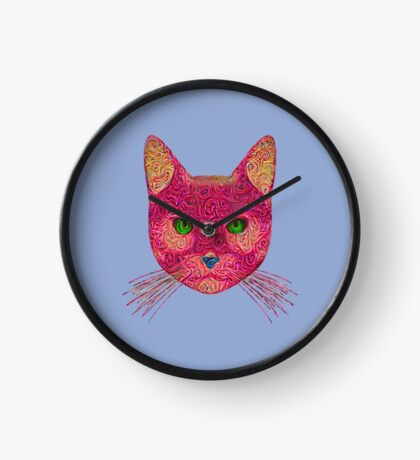 Rose Hungry Cat Clock