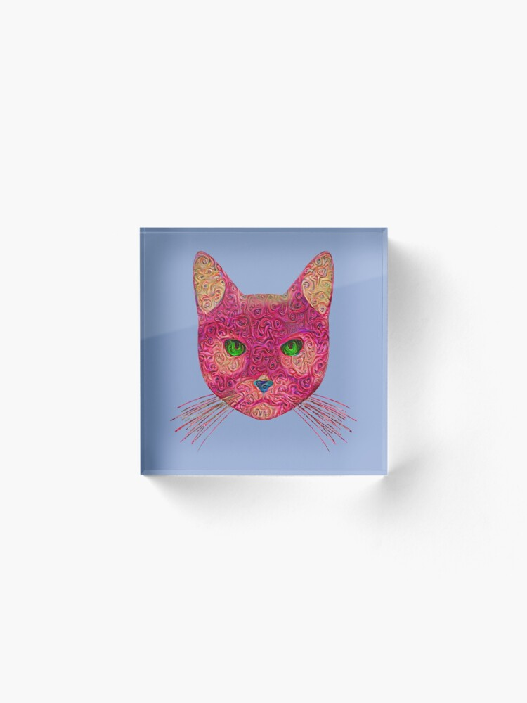Alternate view of Rose Hungry Cat Acrylic Block