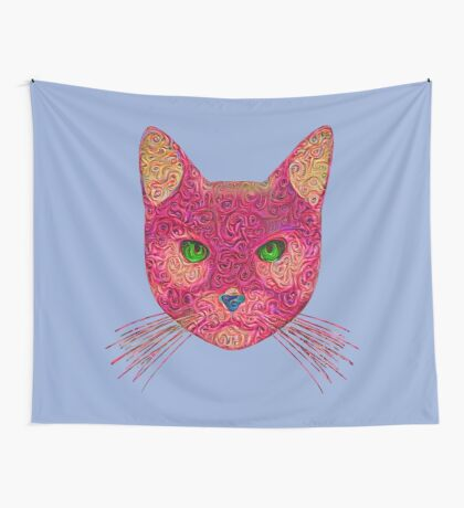 Rose Hungry Cat Wall Tapestry