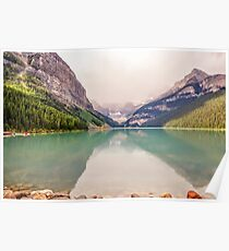 Light rain brings up the beautiful color of Lake Louise Poster
