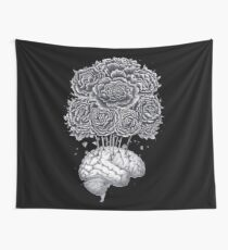 Brain with peonies on black Wall Tapestry
