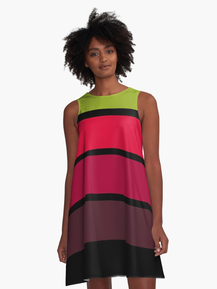 Black, red, yellow , green abstract simple striped pattern . A-Line Dress Front