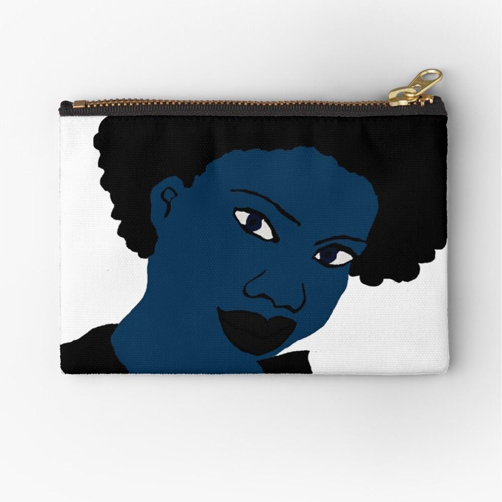 Afro blue Natural Hair Women  Zipper Pouch