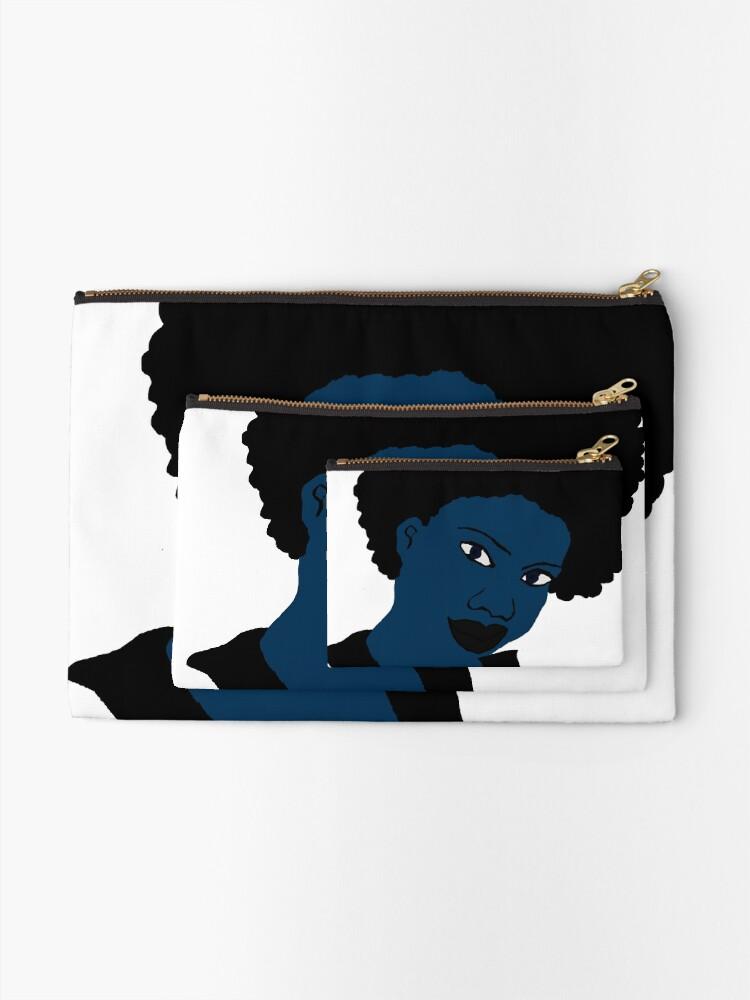 Alternate view of Afro blue Natural Hair Women  Zipper Pouch