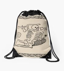 Be Cheerful, Live Well Skeleton Drawstring Bag