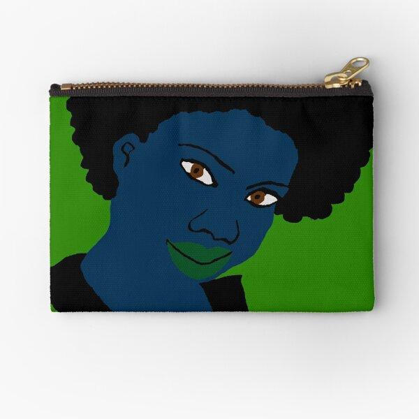 Beautiful Love Afroblue Hair Green Lips Zipper Pouch
