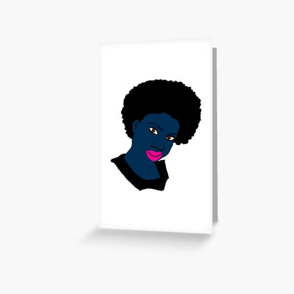 Beautiful Love Your Fro Black Brown Eyes PinkLips Greeting Card