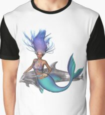 Magical Mermaid and Dolphin Graphic T-Shirt
