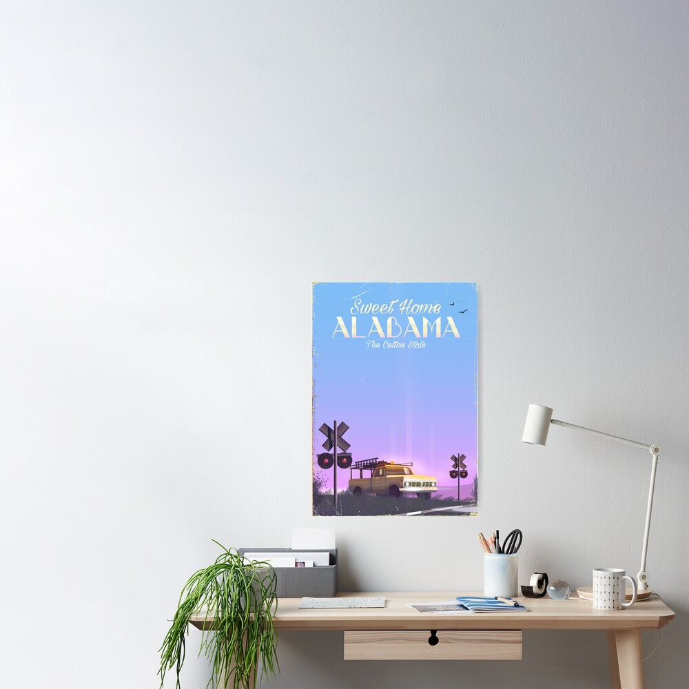 Sweet Home Alabama Travel Poster Poster By Vectorwebstore Redbubble