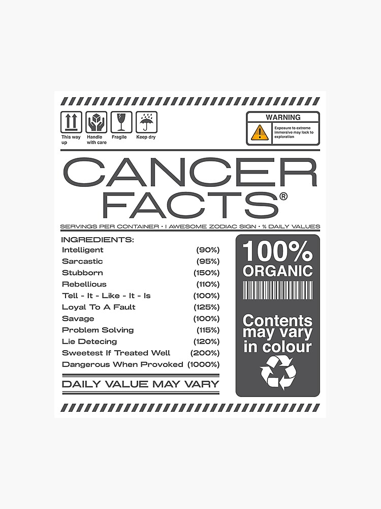 warning Cancer horoscope Facts Astrological Zodiac   Photographic Print
